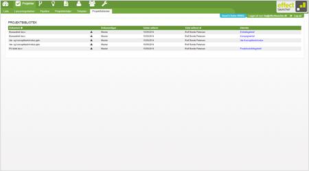 Projektbibliotek indeholder alle dokumenter - effectlauncher